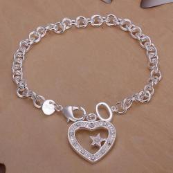 Vienna Jewelry Sterling Silver Petite Hollow Heart Bracelet - Thumbnail 0