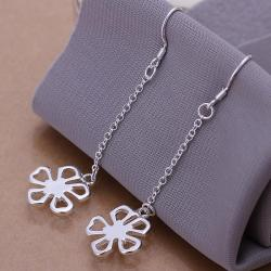 Vienna Jewelry Sterling Silver Hollow Clover Drop Earring - Thumbnail 0