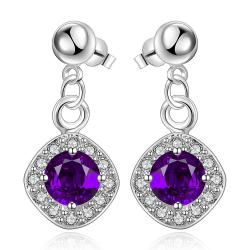 Vienna Jewelry Sterling Silver Purple Citrine Classical Drop Earring - Thumbnail 0