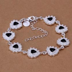 Vienna Jewelry Sterling Silver Triangular Sapphire Gem Bracelet - Thumbnail 0