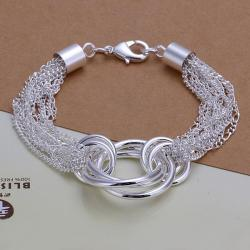Vienna Jewelry Sterling Silver Thin Lined Circular Connected Bracelet - Thumbnail 0