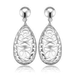 Vienna Jewelry Sterling Silver Laser Cut Filligree Drop Earring - Thumbnail 0