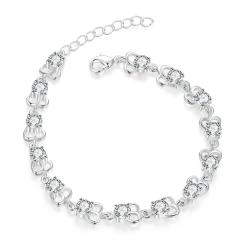 Vienna Jewelry Sterling Silver Petite Cubed Shaped Connecting Bracelet - Thumbnail 0