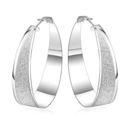 Vienna Jewelry Sterling Silver Stones Crusted Hoop Earring - Thumbnail 0