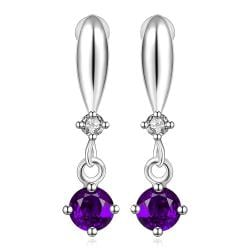 Vienna Jewelry Sterling Silver Purple Citrine Gem Vertical Drop Earring - Thumbnail 0
