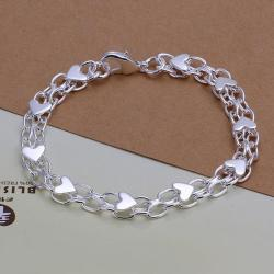 Vienna Jewelry Sterling Silver Heart Infused Linked Chain Bracelet - Thumbnail 0