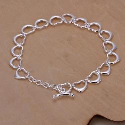 Vienna Jewelry Sterling Silver Multi Hollow Hearts Bracelet - Thumbnail 0