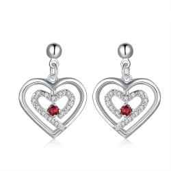 Vienna Jewelry Sterling Silver Stones & Ruby Heart Earring - Thumbnail 0