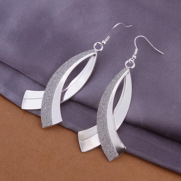 Vienna Jewelry Sterling Silver Curved Loop Drop Earring