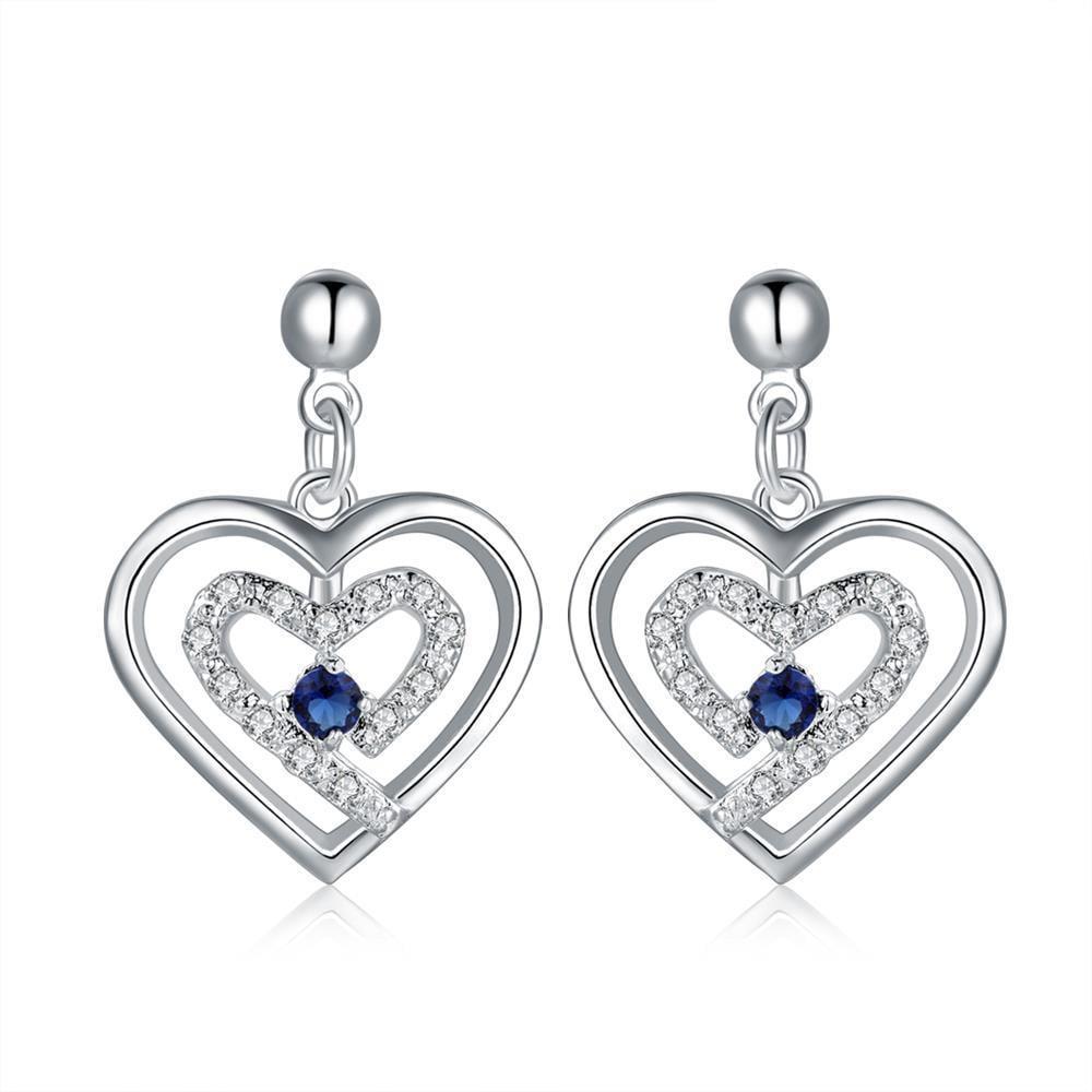 Vienna Jewelry Sterling Silver Stones & Sapphire Heart Earring