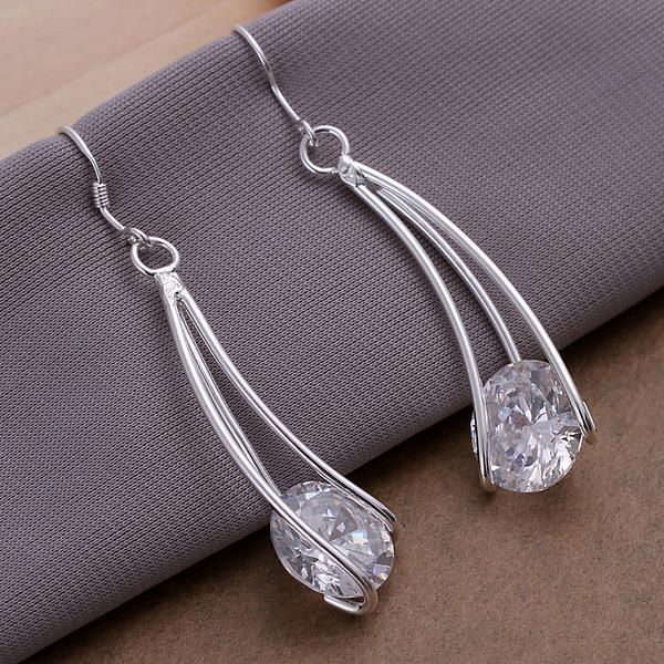 Vienna Jewelry Sterling Silver Drop Crystal Earring