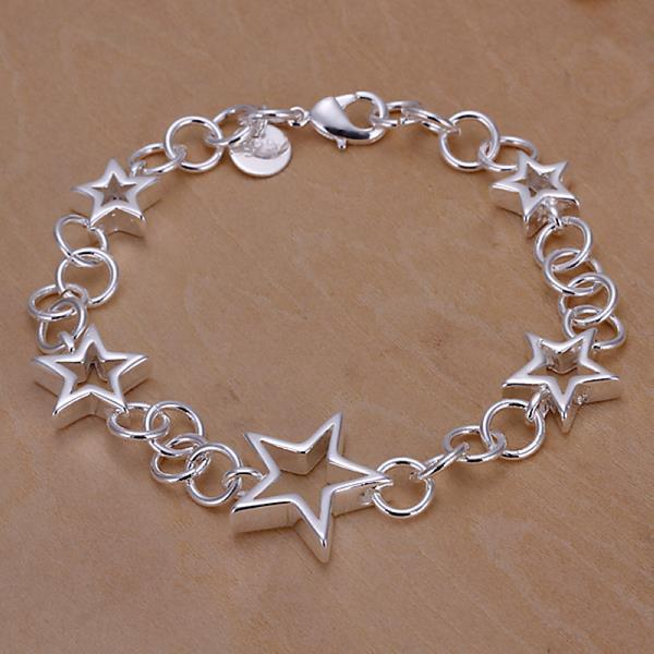 Vienna Jewelry Sterling Silver Hollow Stars & Circles Bracelet