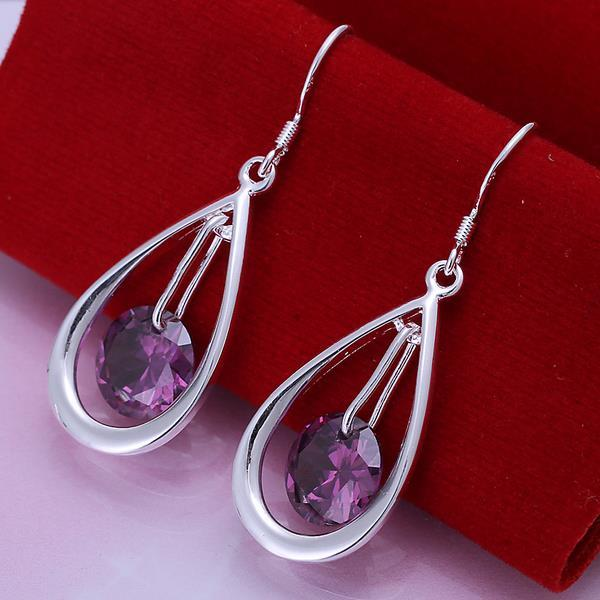 Vienna Jewelry Sterling Silver Purple Citrine Circular Drop Earring