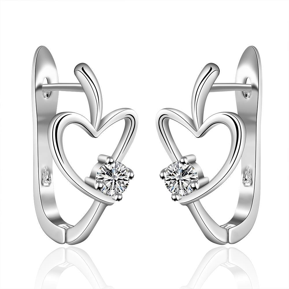 Vienna Jewelry Sterling Silver Abstract Heart Carrying Stone Earring