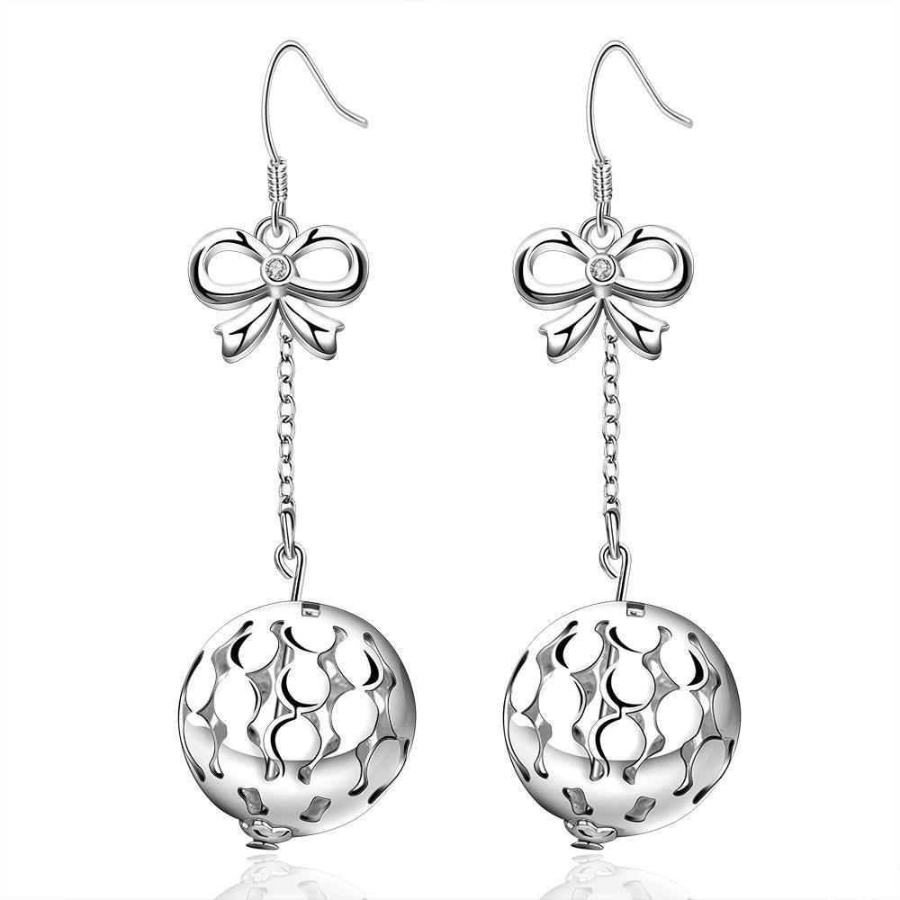 Vienna Jewelry Sterling Silver Studded Pav'e Ball Drop Earring