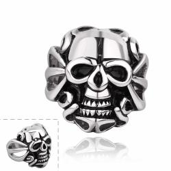 Vienna Jewelry Single Skull Emblem Stainless Steel Ring - Thumbnail 0