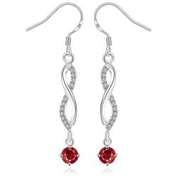 Vienna Jewelry Sterling Silver Thin Line Vertical Ruby Drop Earring - Thumbnail 0