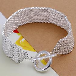 Vienna Jewelry Sterling Silver Large Mesh Clasp Closure Bracelet - Thumbnail 0