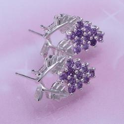 Vienna Jewelry Sterling Silver Purple Citrine Floral Orchid Earring - Thumbnail 0