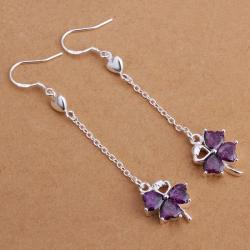 Vienna Jewelry Sterling Silver Purple Citrine Clover Drop Earring - Thumbnail 0