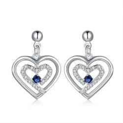 Vienna Jewelry Sterling Silver Stones & Sapphire Heart Earring - Thumbnail 0