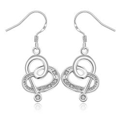 Vienna Jewelry Sterling Silver Curved Hearts Drop Earring - Thumbnail 0