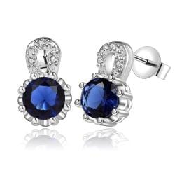Vienna Jewelry Sterling Silver Sapphire & Crystal Stones Drop Earring - Thumbnail 0