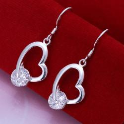 Vienna Jewelry Sterling Silver Heart Shaped Drop Earring with Crystal Stone - Thumbnail 0
