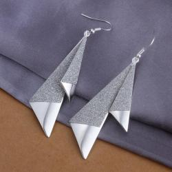 Vienna Jewelry Sterling Silver Drop Triangular Earring - Thumbnail 0