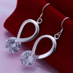 Vienna Jewelry Sterling Silver Crystal Loop Earring - Thumbnail 0