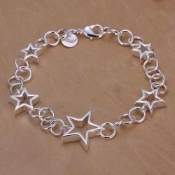 Vienna Jewelry Sterling Silver Hollow Stars & Circles Bracelet - Thumbnail 0