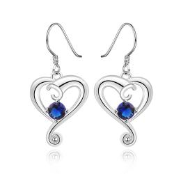 Vienna Jewelry Sterling Silver Sapphire Stone Curved Heart Drop Earring - Thumbnail 0