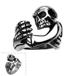 Vienna Jewelry Walking Skull Stainless Steel Emblem Ring - Thumbnail 0