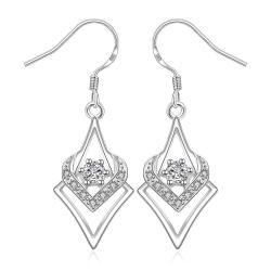 Vienna Jewelry Sterling Silver Curved Triangular Drop Earring - Thumbnail 0
