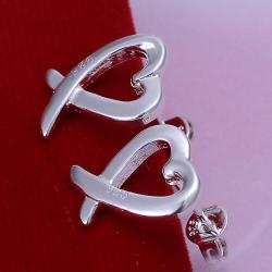 Vienna Jewelry Sterling Silver Abstract Curved Heart Shaped Earring - Thumbnail 0