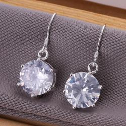 Vienna Jewelry Sterling Silver Classic Crystal Earring - Thumbnail 0