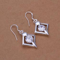 Vienna Jewelry Sterling Silver Diamond Shaped Crystal Earring - Thumbnail 0