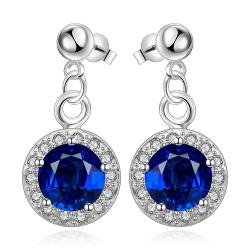 Vienna Jewelry Sterling Silver Circular Sapphire Pendant Drop Earring - Thumbnail 0