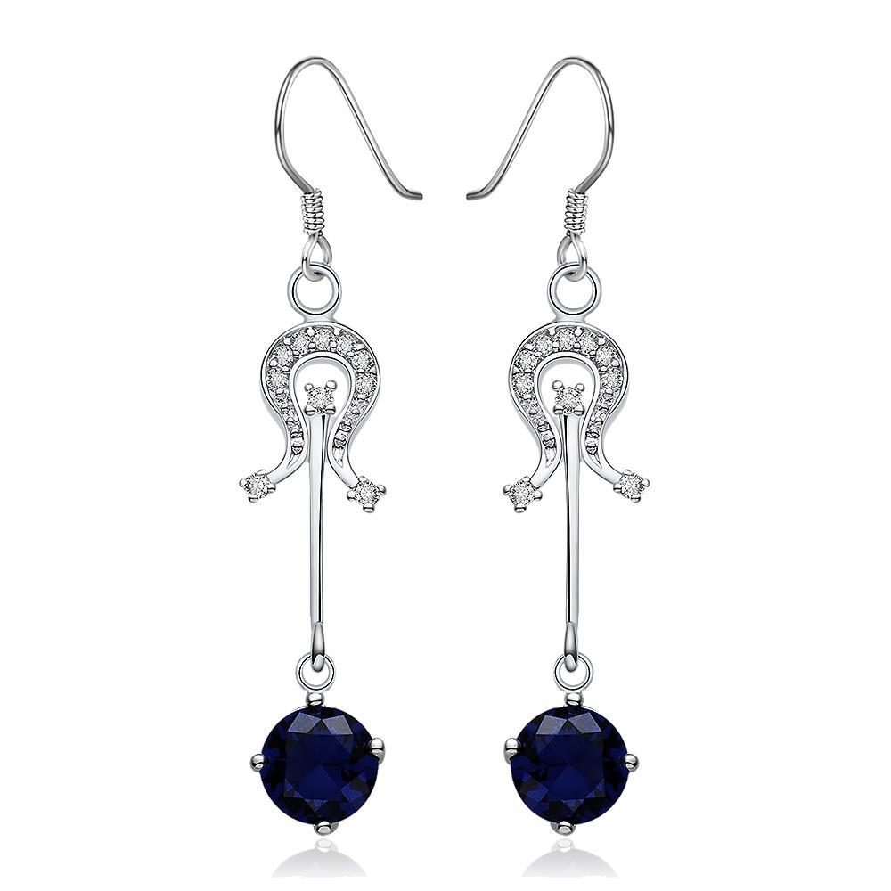 Vienna Jewelry Sterling Silver Sapphire Center Drop Earring