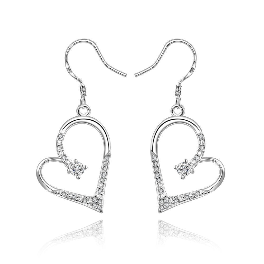 Vienna Jewelry Sterling Silver Hollow Petite Heart Shaped Drop Earring