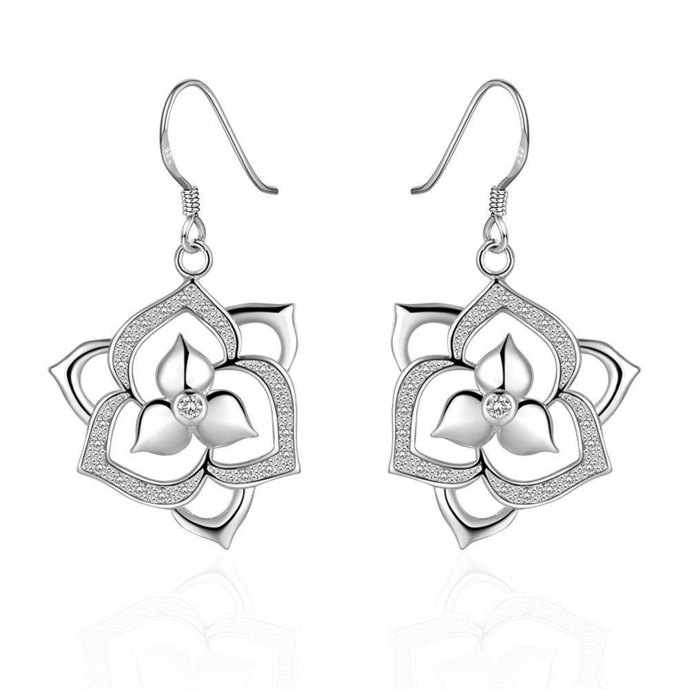 Vienna Jewelry Sterling Silver Laser Cut Flower Bud Drop Earring