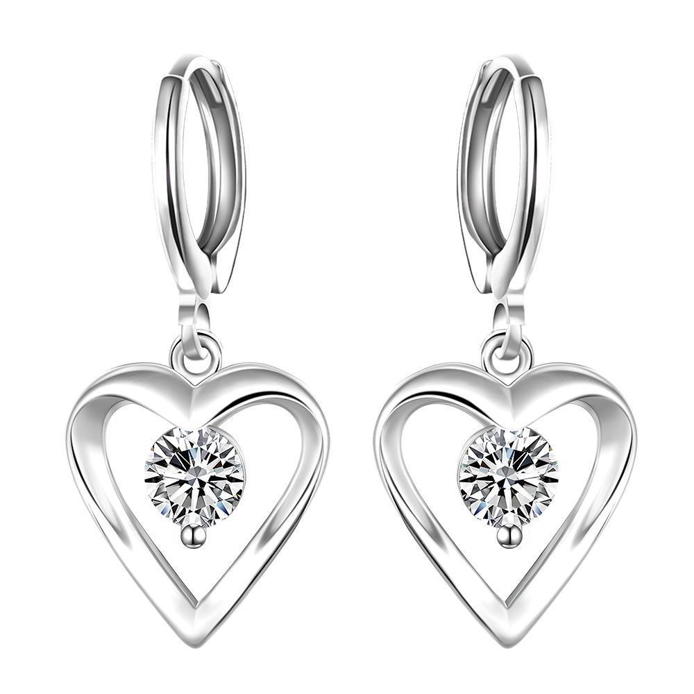 Vienna Jewelry Sterling Silver Drop Hollow Heart Stone Earring
