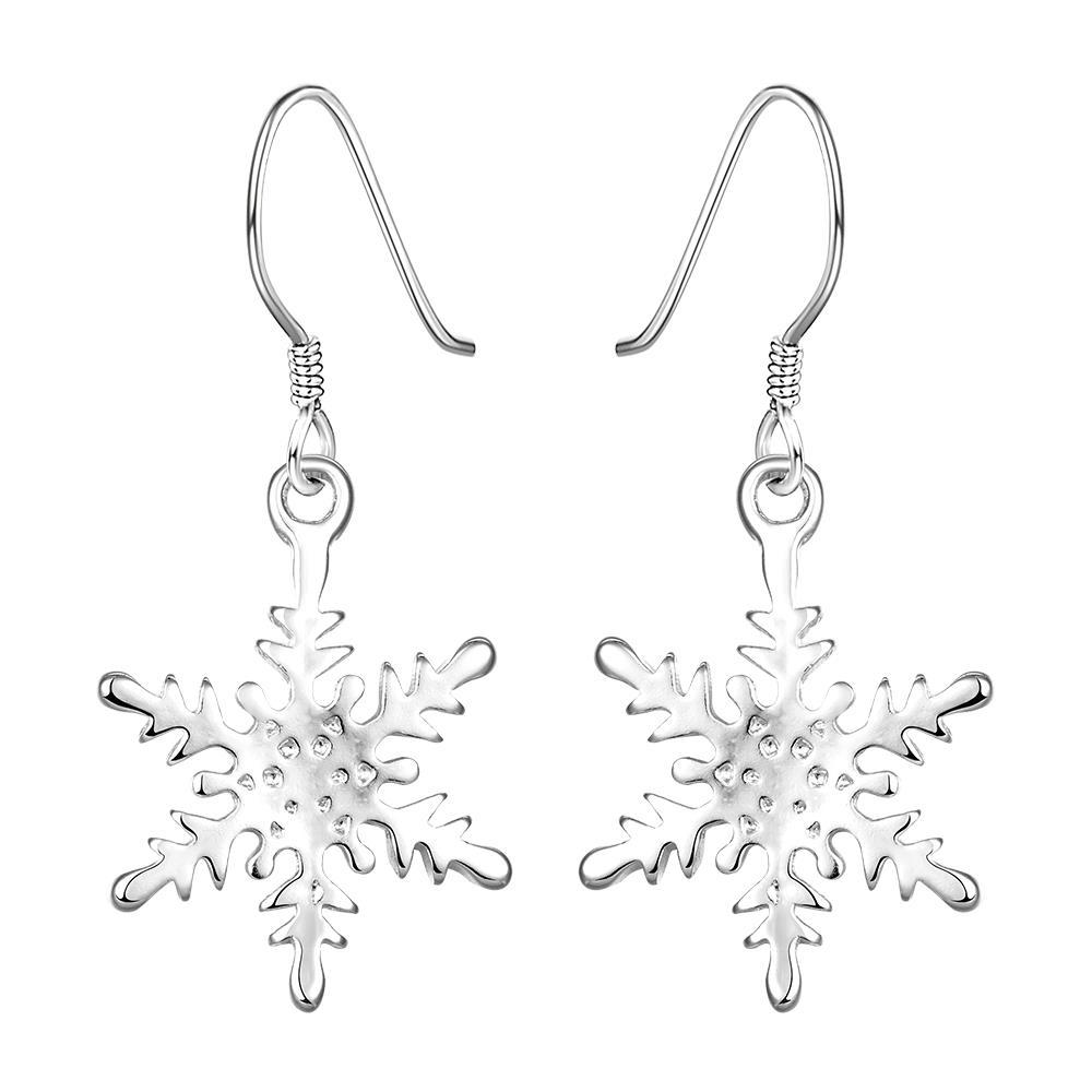 Vienna Jewelry Sterling Silver Snowflake Design Classic Earring