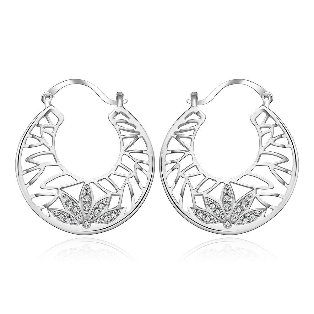 Vienna Jewelry Sterling Silver Crystal Abstract Design Hoop Earring