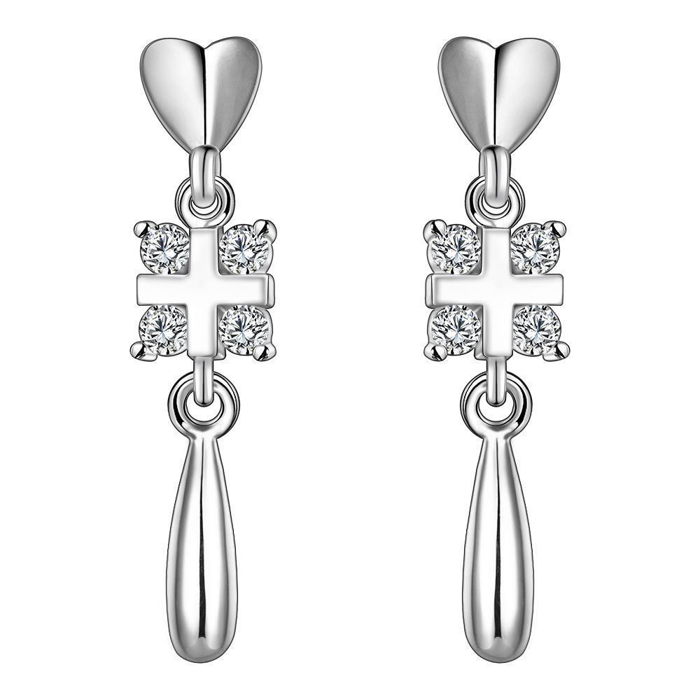 Vienna Jewelry Sterling Silver Heart Pendant Drop Tear Drop Earring