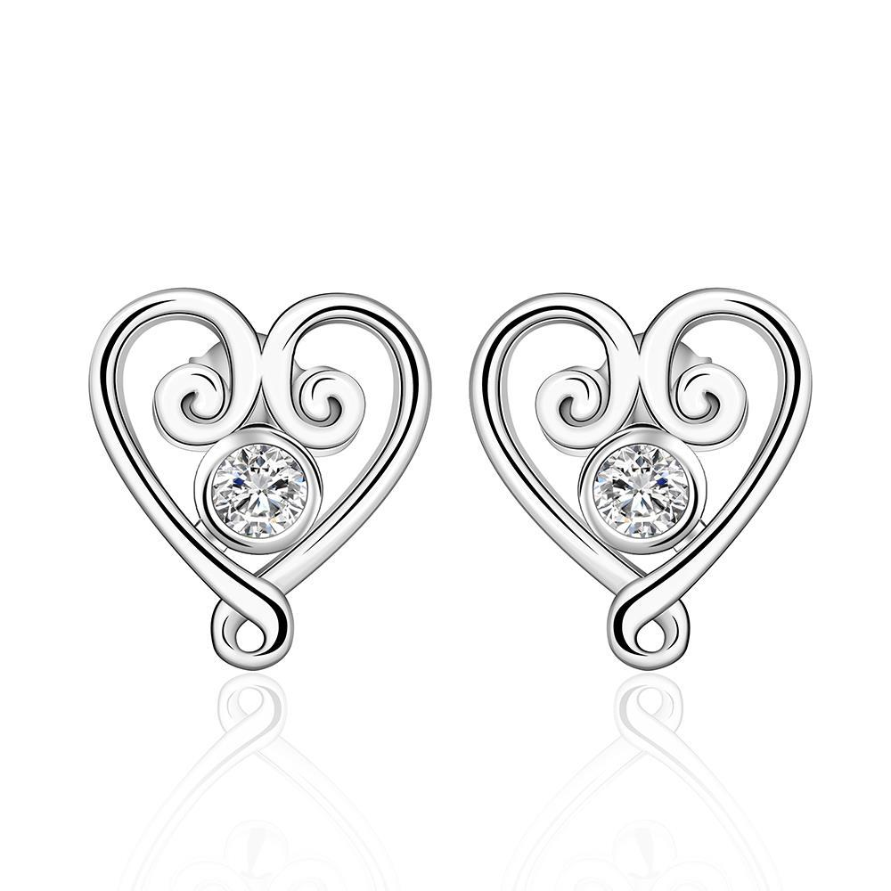 Vienna Jewelry Sterling Silver Crystal Curved Heart Shaped Earring