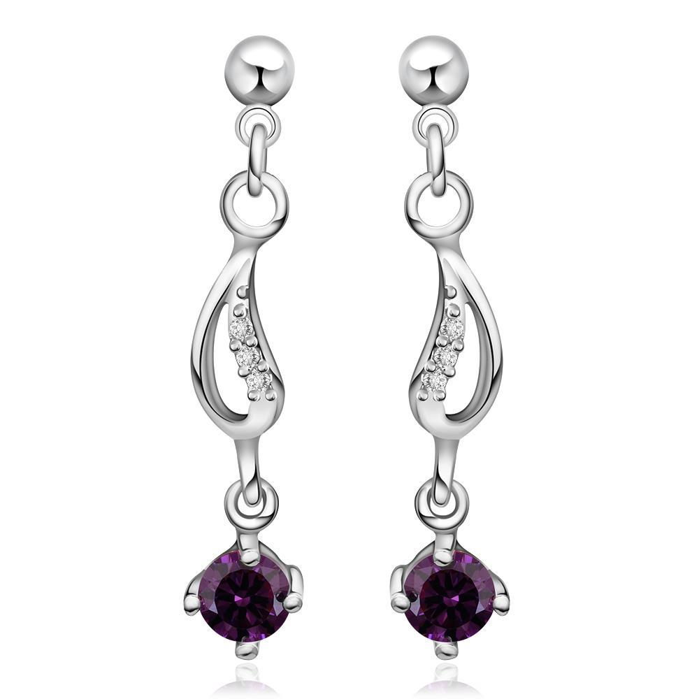 Vienna Jewelry Sterling Silver Purple Citrine Gem Drop Drop Earring