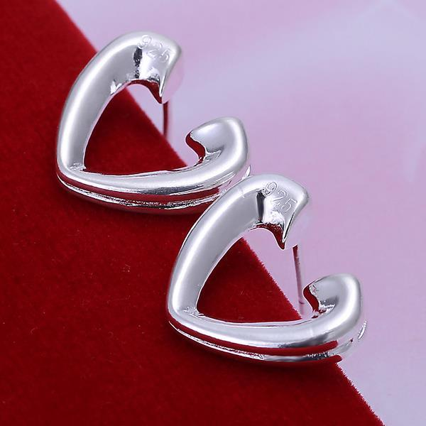 Vienna Jewelry Sterling Silver Hollow Hearts Open-Clasp Studs