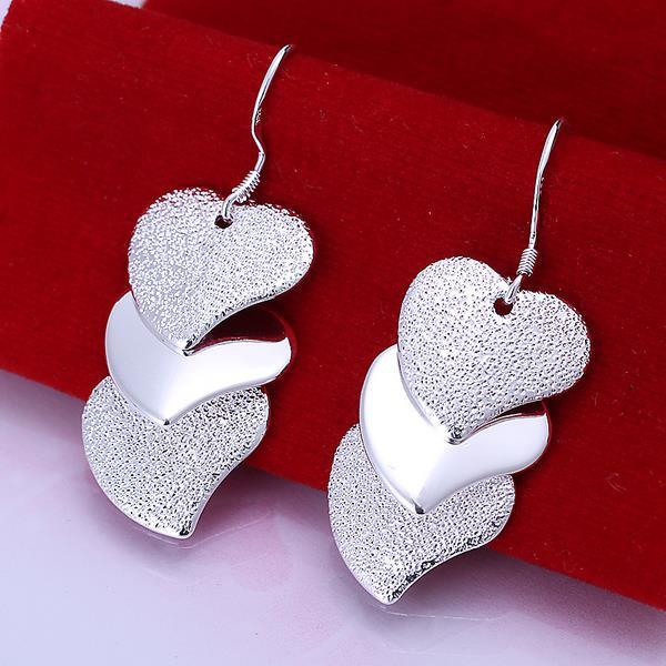 Vienna Jewelry Sterling Silver Trio-Hearts Drop Earring