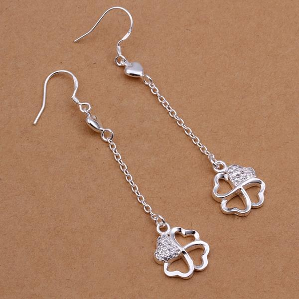 Vienna Jewelry Sterling Silver Quater Hollow Clover Drop Earring